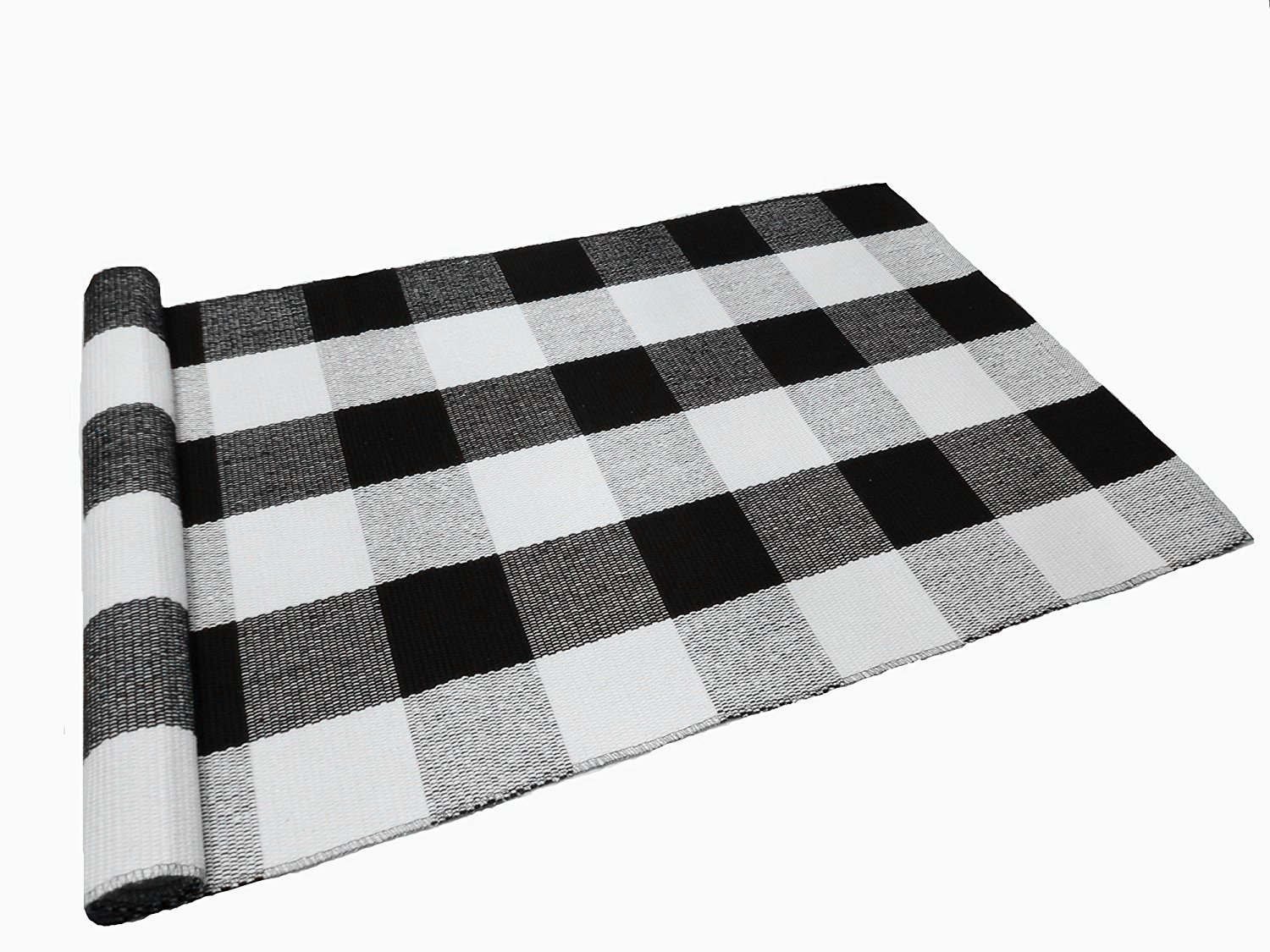 Ukeler Buffalo Check Rug, Black and White Plaid Rugs Cotton Hand-woven Checkered Carpet Washable Braided Kitchen Rugs and Mat, 24''x51.2''