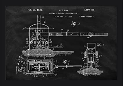 Amazoncom Blackboard Patent Railroad Crossing 24x16 Giclee Art