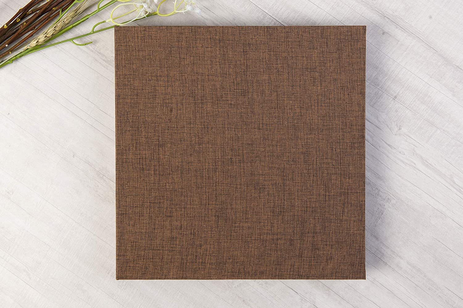 Brown, 10 x 10 Inch 10 x 10 Inch Linen Hardcover DIY Scrapbook Photo Album Kraft Blank Black Page with Plastic Protectors Wedding Family Anniversary Photo Scrapbook Album