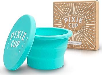 Pixie Copa de silicona plegable para esterilización menstruales Copas y Almacenamiento de su diva Copa plegable para viajes Teal