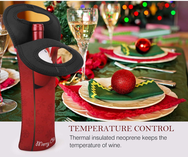 Babbo Natale e Albero di Natale portabottiglie e Borsa Termica per Bottiglie di Vino e Acqua Nuovoware Borsa da Vino Protezione per Bottiglie Durante Viaggi e Picnic