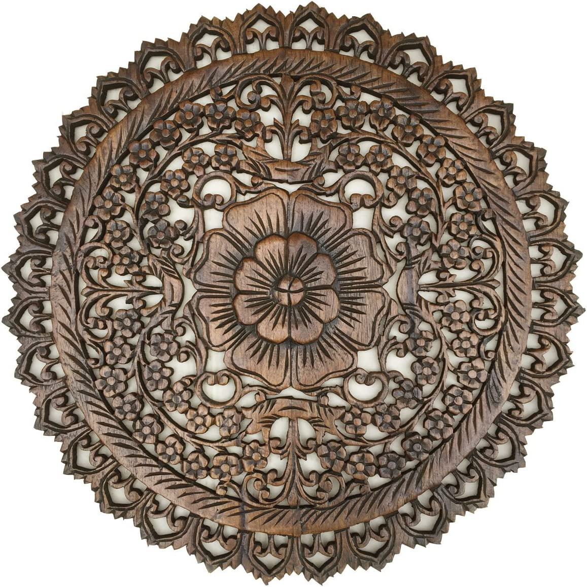 """Tropical Bali Wood Carved Wall Art Plaque. Round Wood Wall Decor. Floral Wood Wall Hanging. 24"""" (Brown)"""