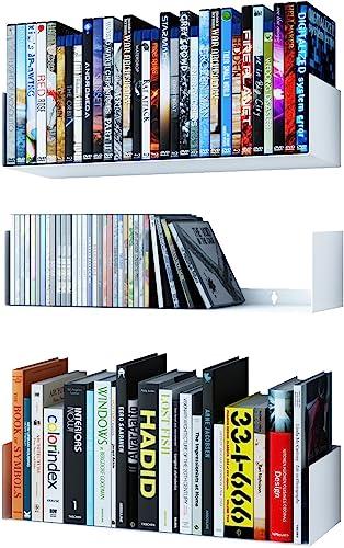 Wallniture Bali U Shape Bookshelves – Wall Mountable Metal CD DVD Storage Rack White Set of 3