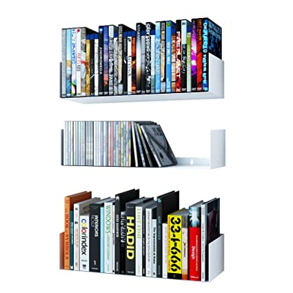 Wallniture Bali U Shape Bookshelves - Wall Mountable Metal CD DVD Storage Rack White Set of  sc 1 st  Amazon.com & Amazon.com: Wallniture Bali U Shape Bookshelves - Wall Mountable ...