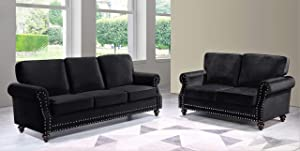 Container Furniture Direct Lotus Mid Century Modern Velvet Upholstered Living Room Rolled Arms, Sofa and Loveseat, Black