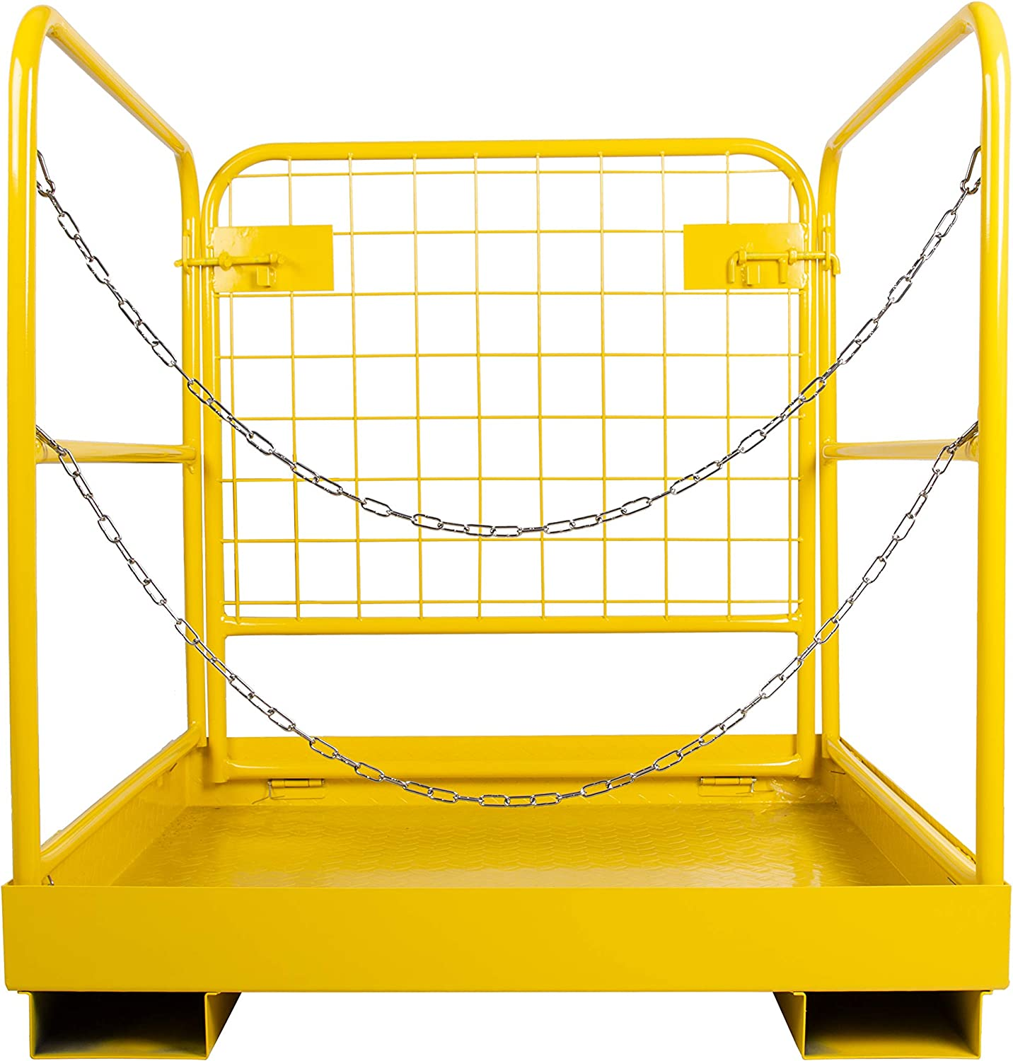 ECOTRIC 36x36 Forklift Cage Work Platform Safety Cage/ Collapsible Lift Basket Aerial Rails Heavy Duty Steel Construction/ Fold Down Design