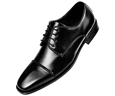 ab3a9150 Amali The Original Mens Smooth Cap Toe Oxford Dress Shoe with Braiding  Detail and Wood Colored Sole Style Romano