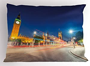 """Ambesonne Urban Pillow Sham, Night View of Big Ben and Westminster Palace Parliament Square London England, Decorative Standard Queen Size Printed Pillowcase, 30"""" X 20"""", Grey Yellow"""