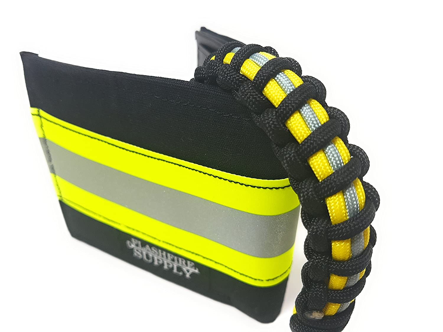 Firefighter Paracord Adjustable Survival bracelets Black and Yellow