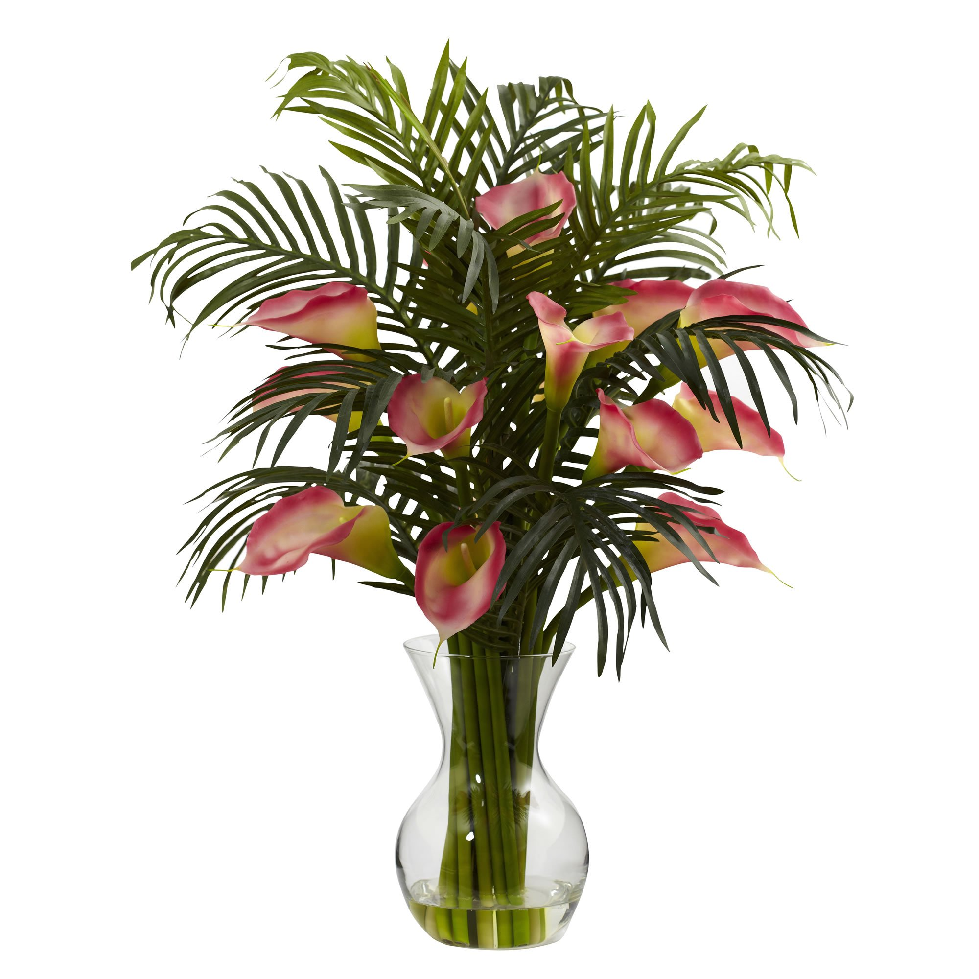 Nearly Natural 1301-PK Calla Lily and Palm Combo Plant, Pink by Nearly Natural