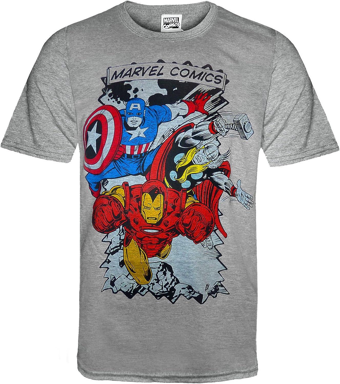 Marvel Comics - Camiseta Oficial para Hombre - con Personajes de los cómics - Gris - Medium: Amazon.es: Ropa y accesorios