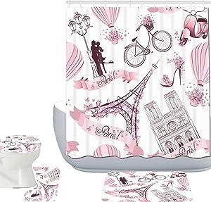 Amagical Paris Eiffel Tower Decor 16 Piece Bathroom Mat Set Shower Curtain Set Paris Tower with Pink Flowers Romance Lover Hot Air Balloon Bike Bath Mat Contour Mat Toilet Cover Shower Curtain 12 Hook