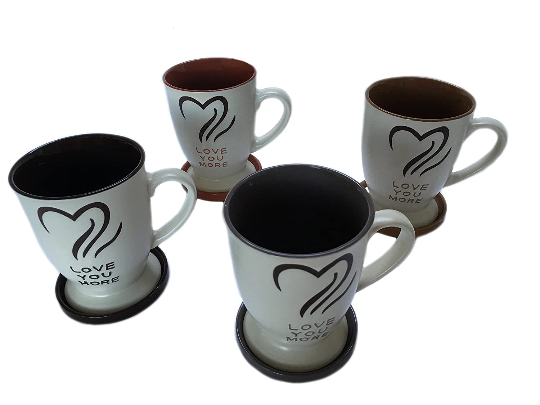 Comfy Hour Love You More 16 Oz Ceramic Mug Set with Lids 40000