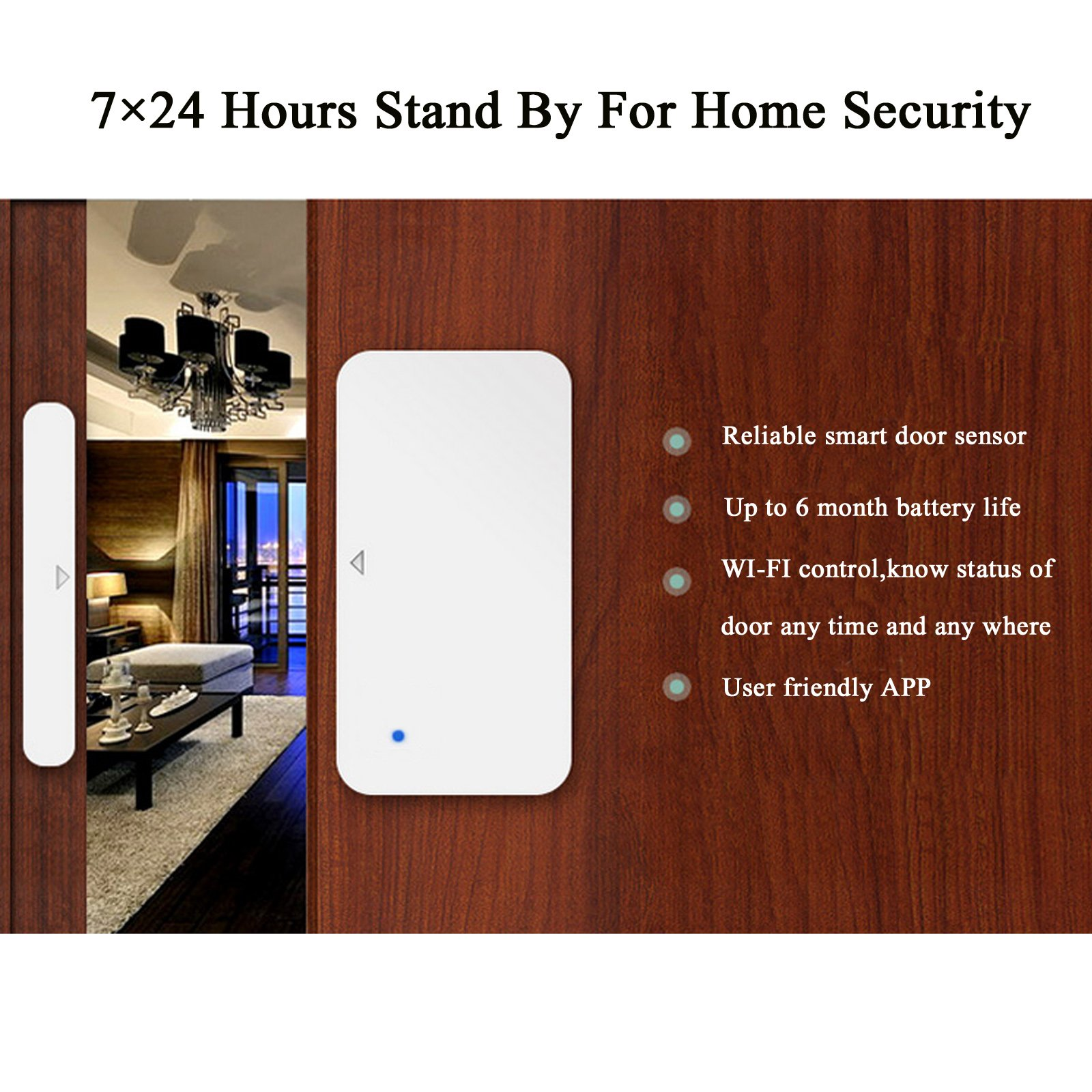 AI-cluster WiFi Door and Windows Sensor Magnets Smart Phone