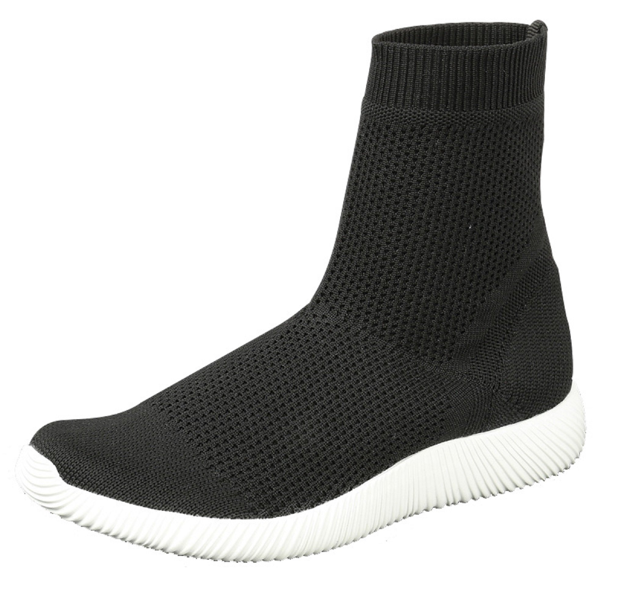 BDshoes Lena Junior Pull On Elastic Fabric Hightop High Top Fashion Sneaker Tennis Shoe for Little Girls (Assorted Colors) … (3, Black)