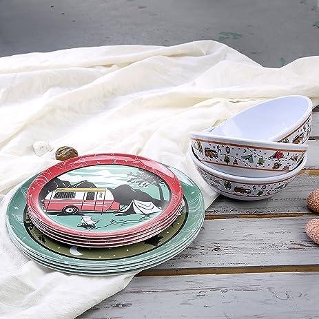 Melamine Camping Dinnerware Set For 4   Yinshine 12 PCS Modern Outdoor  Retro Theme Dishes Set