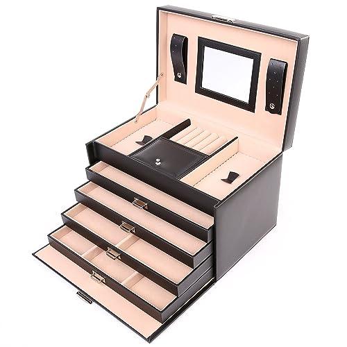 TRESKO® Caja para joyas joyero caja de joyas organizador de joyas, estuche de joyas, con cubierta protectora, de cuero sintético de alta calidad, con ...