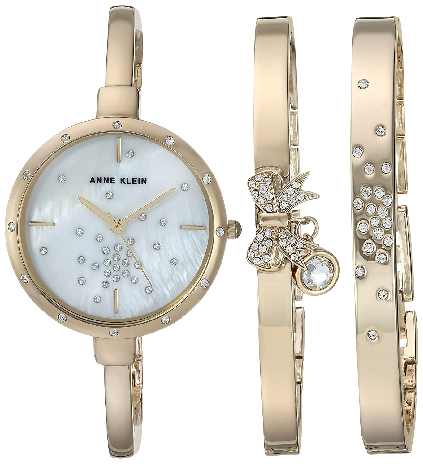 Anne Klein Women s AK 3274 Swarovski Crystal Accented Watch and Bracelet Set