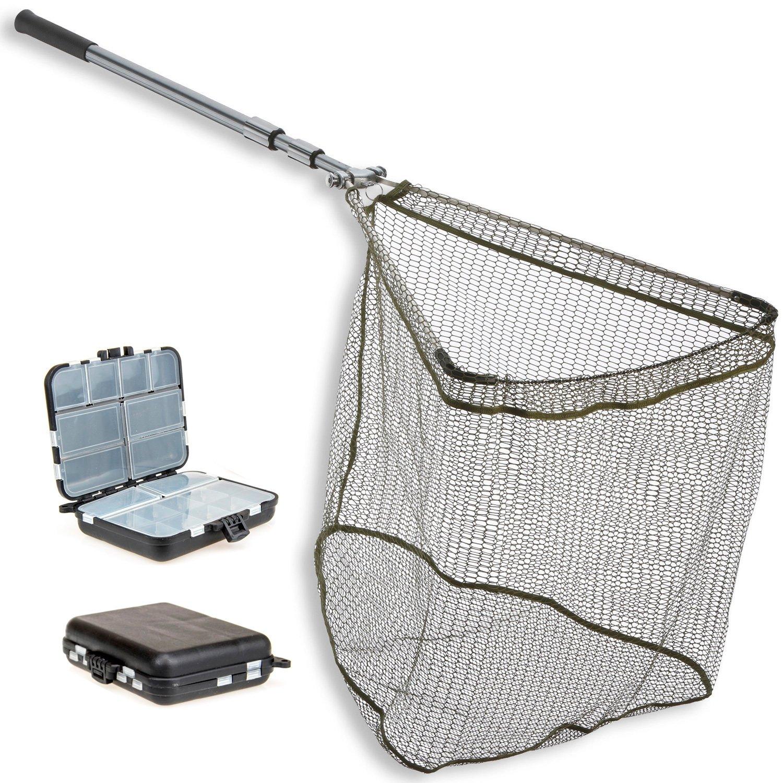 - 70x70cm 3,10m MEGA Starker gummierter Klappkescher 3tlg Kleinteilebox TheBigFish Set