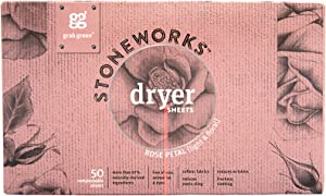 Grab Green Stoneworks Dryer Sheets Rose Petal 50 Sheets