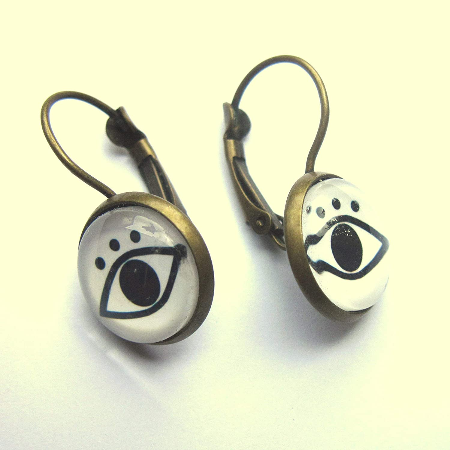 Eye Earrings Glass And Brass Nickel And Lead Free