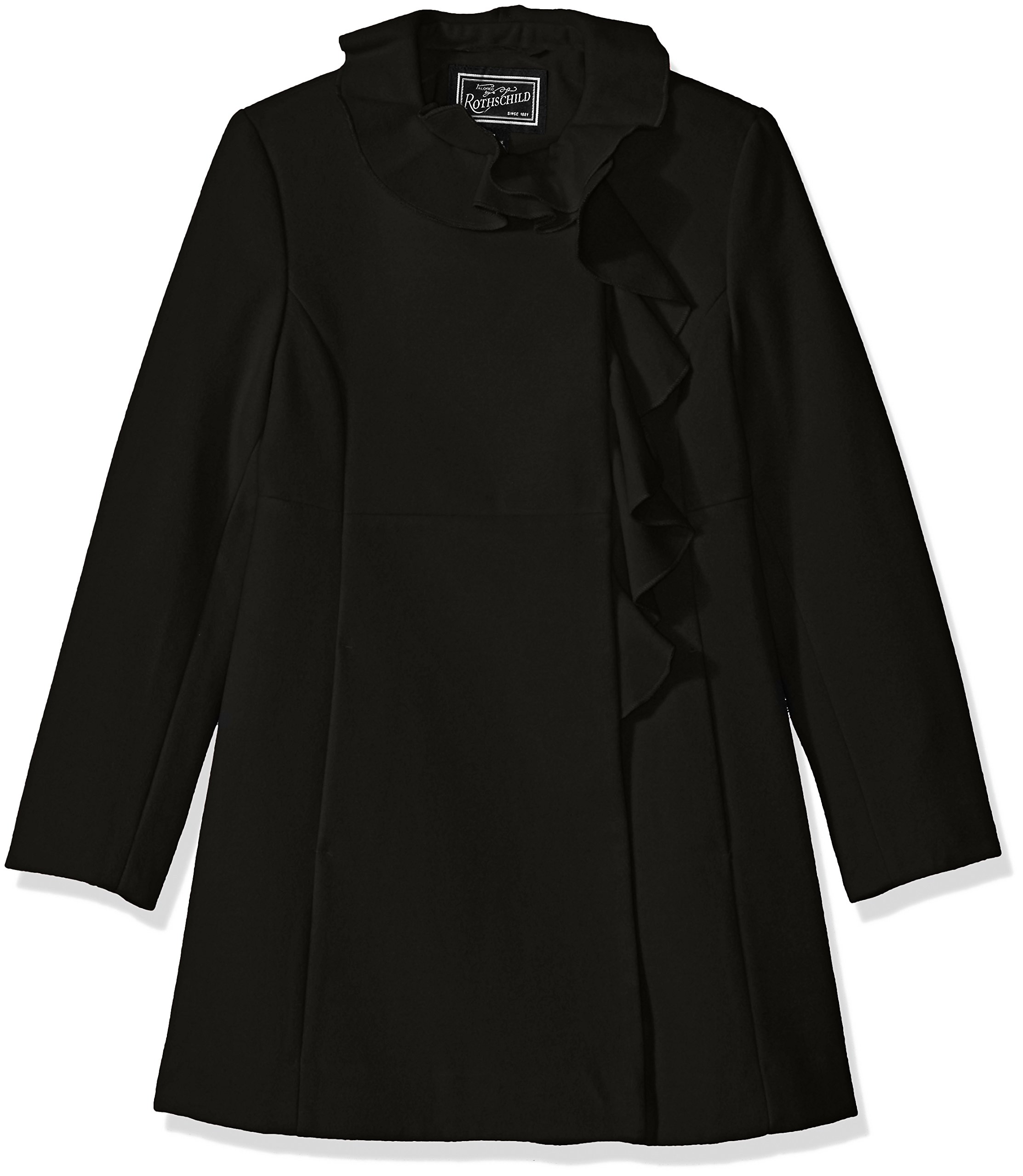 Rothschild Big Girls' Faux Wool Coat with Ruffle Trim, Black, 12