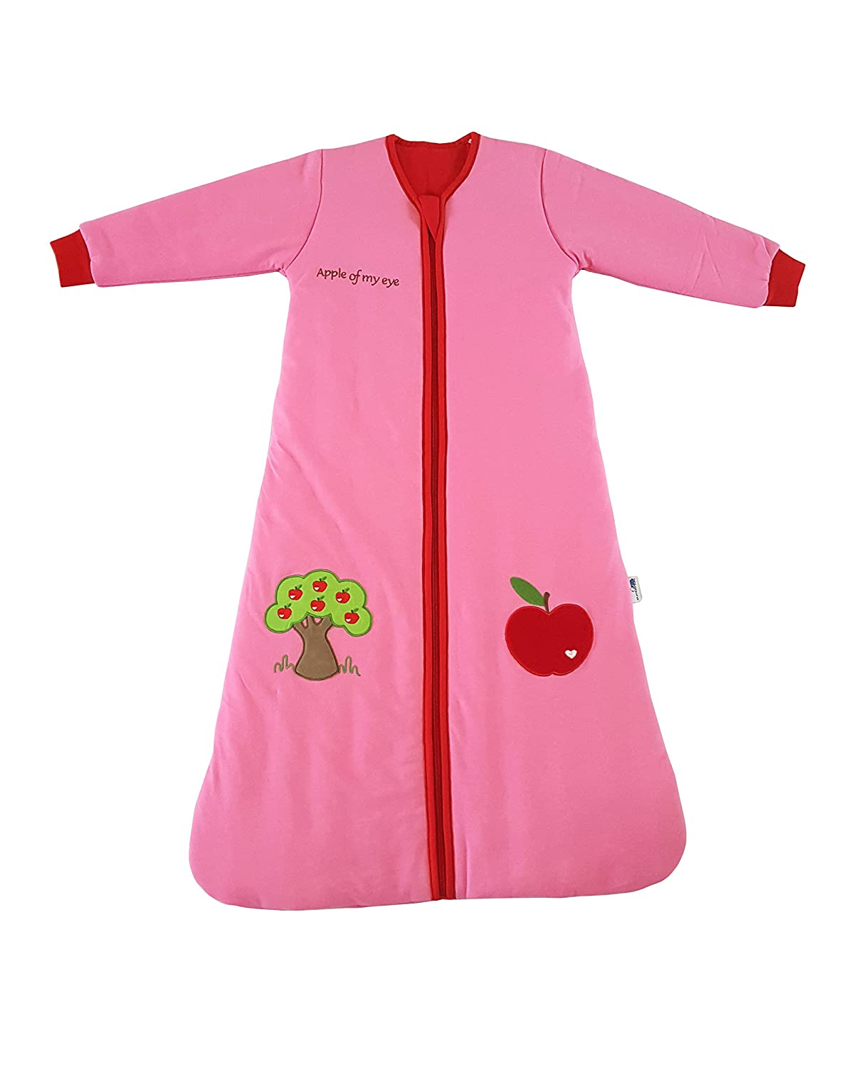 Slumbersac Sleeping Bag with Non Removable Long Sleeves 3.5 Tog-Red Apple - 3-6 years/130cm