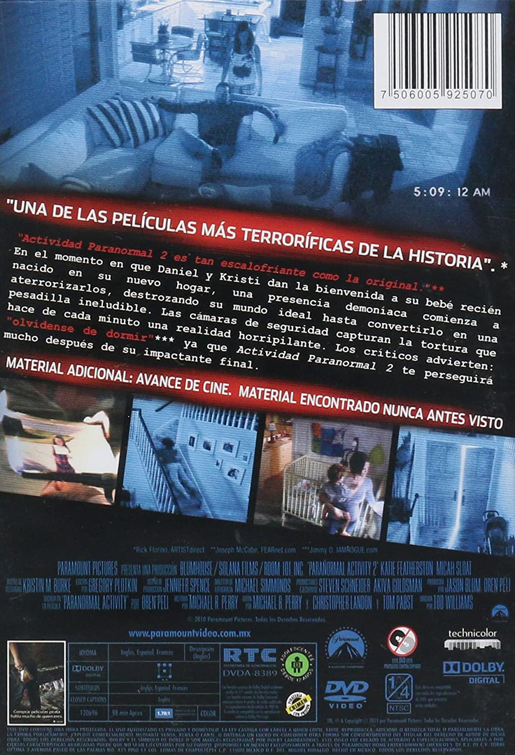 Amazon.com: ACTIVIDAD PARANORMAL 2 / DVD: Movies & TV