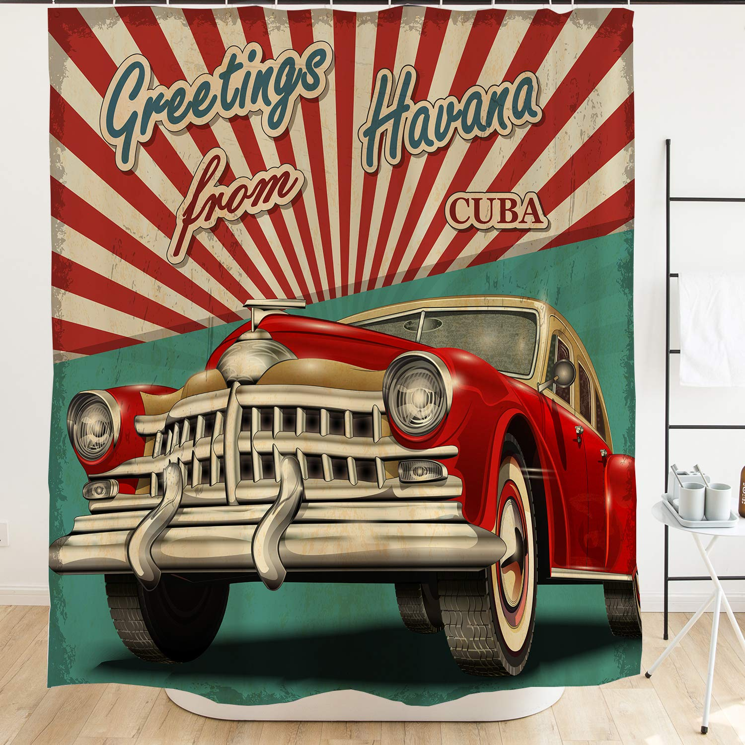 Ofat Home Vintage Car Shower Curtain Havana Cuba Poster 1950s Style Nostalgic Retro Shower Curtian, 72x72 inch Cuba Curtain for Bathroom Home Decor