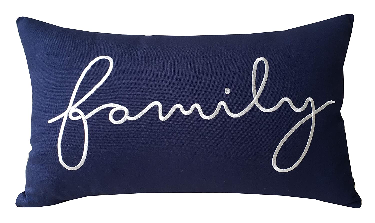 "EURASIA DECOR DecorHouzz Family Sentiment Pillow Covers Farmhouse Embroidered Throw Pillowcase for Housewarming Wedding Anniversary Couple Gift for Christmas He and She (14""X24"", Family(Navy))"