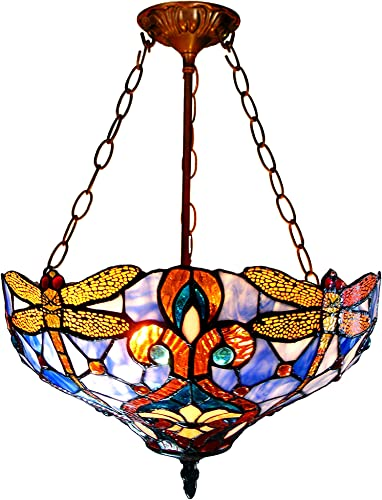 Chloe Lighting CH1B717BD17-UH2 Julia Tiffany Style Dragonfly 2-Light Inverted Ceiling Pendant Fixture with Shade, 22 x 17 x 17