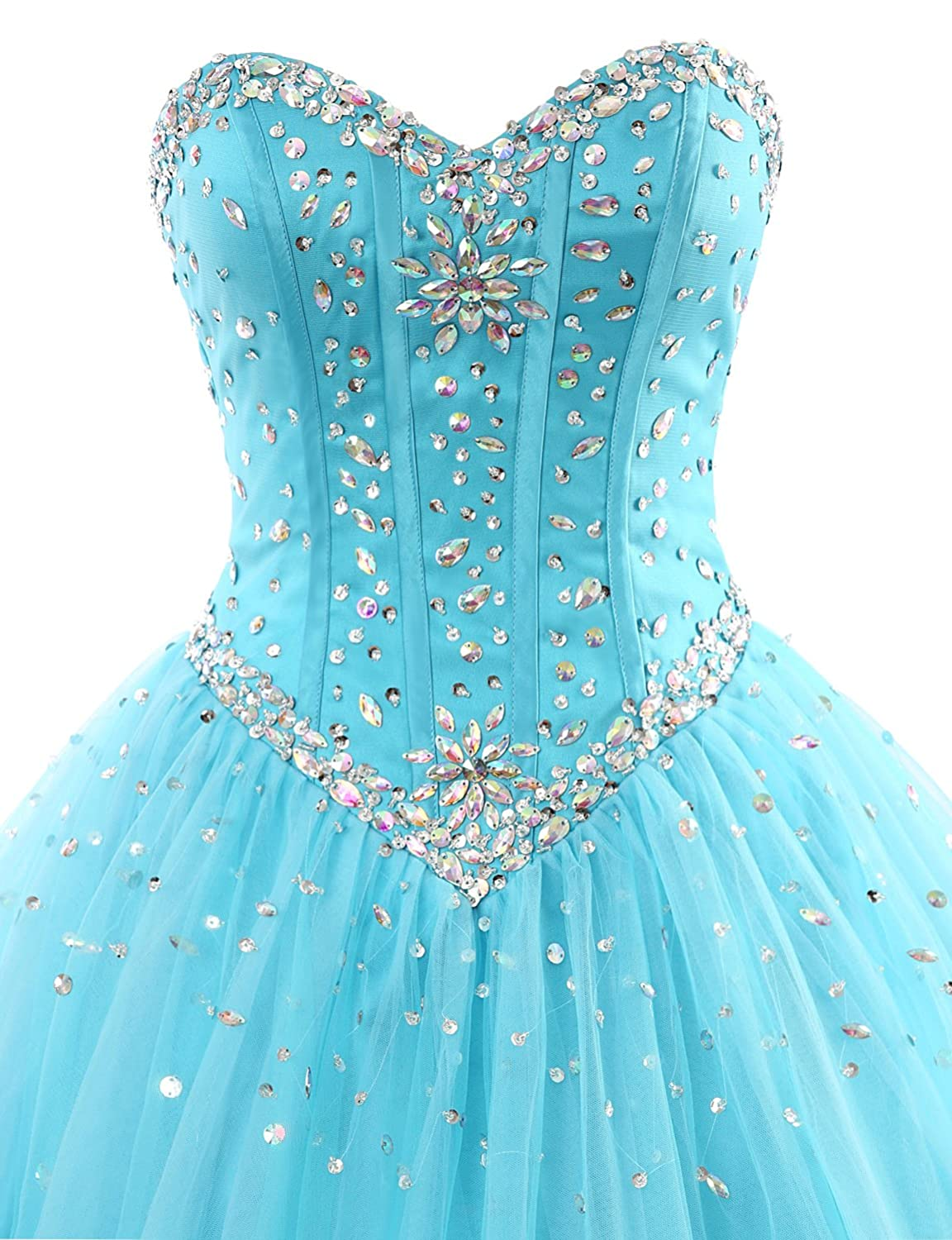 a51f360b006 Amazon.com  Erosebridal Long Prom Dress Tulle Sweetheart Beaded Quinceanera  Dress  Clothing