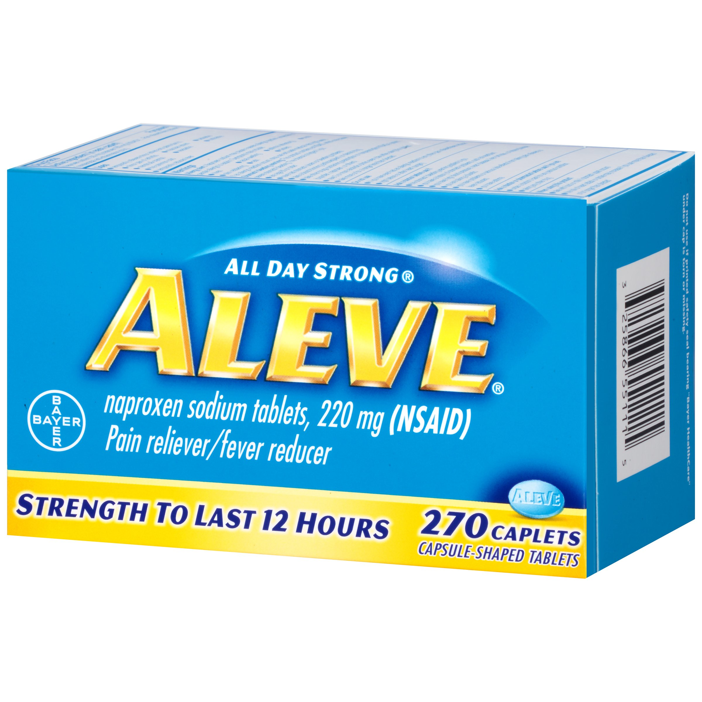 Aleve Caplets, Naproxen Sodium 220 mg (NSAID), Pain Reliever/Fever Reducer, #1 Orthopedic Surgeon Recommended, 270 Count by Aleve