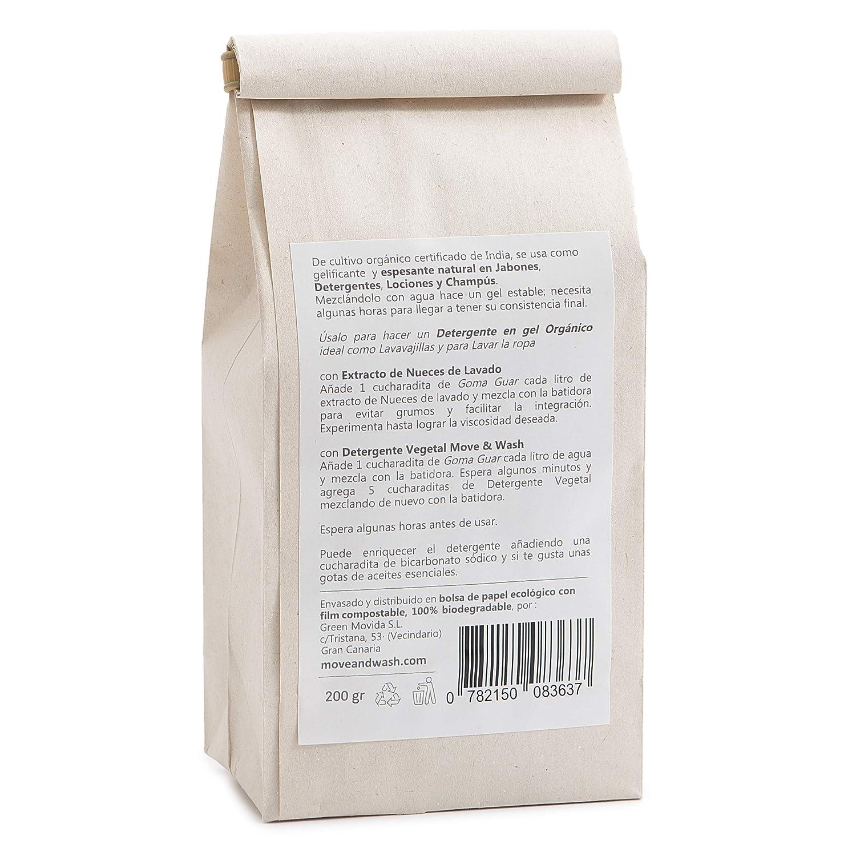 5c8c0971b Move & Wash 200 gr Goma Guar de Cultivo orgánico Certificado en Bolsa de Papel  ecológico: Amazon.es: Hogar