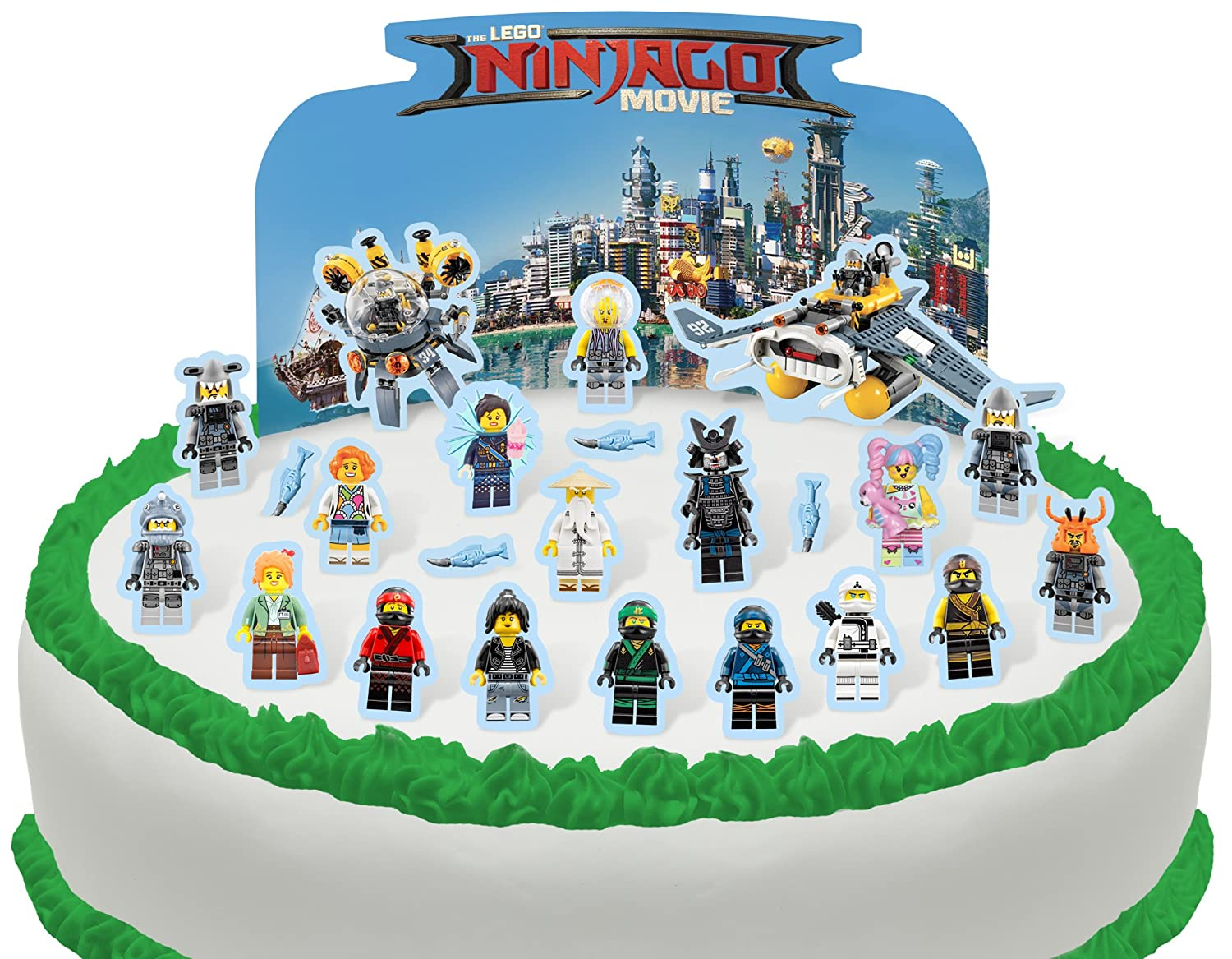 Phenomenal Cakeshop Pre Cut Lego Ninjago Movie Edible Cake Scene 24 Pieces Funny Birthday Cards Online Inifofree Goldxyz