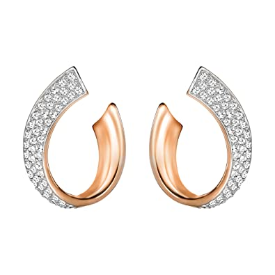 ff636248a Swarovski Exist Pierced Earrings, Small, White, Rose gold plating:  Amazon.co.uk: Jewellery