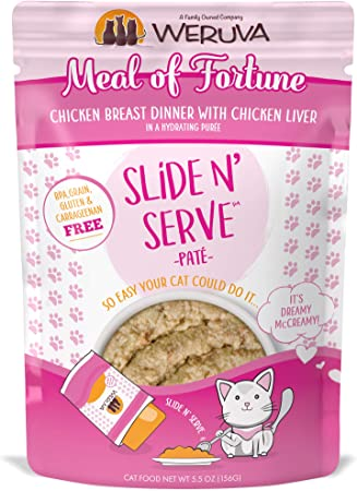Amazon Com Weruva Slide N Serve Pate Wet Cat Food Meal Of Fortune Chicken Breast Dinner With Chicken Liver 5 5oz Pouch 12 Pack Pet Supplies
