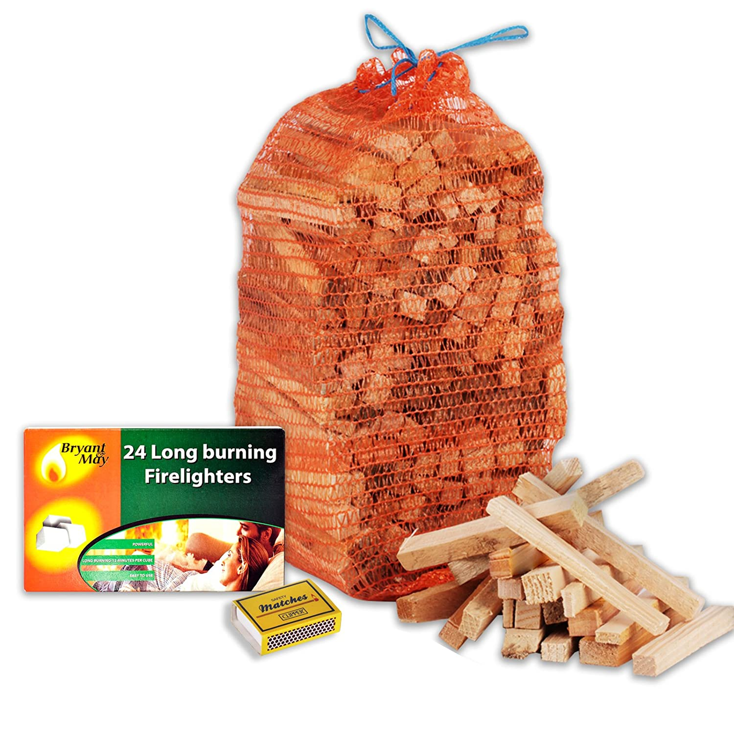 1 X Pack of 24 Bryant & May Long Burning Easy to Use Firelighters + 3kg Kindling & Tigerbox Safety Matches Bryant&May