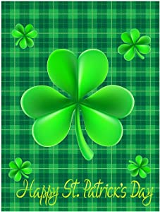 Happy St Patrick's Day Green Shamrock Clovers Leaf Lucky Double Sided Garden Yard Flag 12