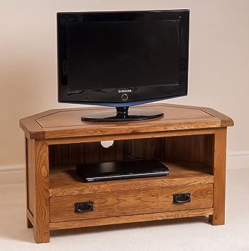 online store dacea 1f447 COTSWOLD RUSTIC SOLID OAK CORNER TV STAND / UNIT CABINET LIVING ROOM  FURNITURE