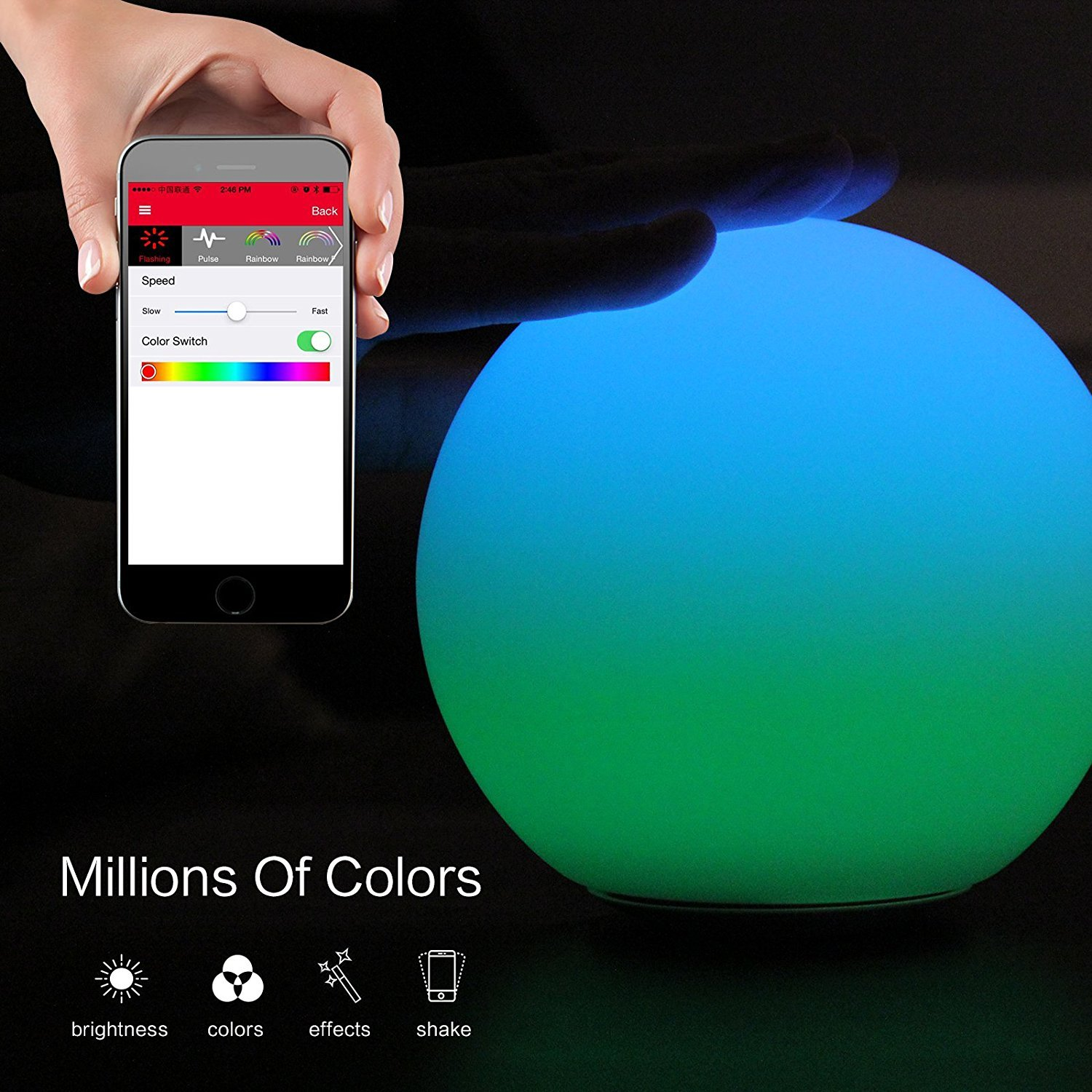 MIPOW PLAYBULB Sphere Bluetooth Smart Color Changing Night Light, Waterproof Touch Sensitive Dimmable LED Glass Orb Bulb with APP control, Wireless Charging Solution, Ideal for Home Bedroom Patio by MIPOW (Image #2)