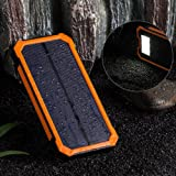Sunyounger™ 10000mAh Portable Dual USB Port Camping Lights Mobile Power Bank Solar Charger Shockproof Dustproof Solar Panel Portable Charger Backup External Battery Power Pack for iPhone 6 Plus 5S 5C 5 4S 4, iPad Air Mini, iPods(Apple Adapters not Included), Samsung Galaxy S5 S4 S3,Note 4 3 2, Nexus, HTC, Android Phones,Windows phone, Bluetooth Speakers, MP3, Tablets and Other Devices