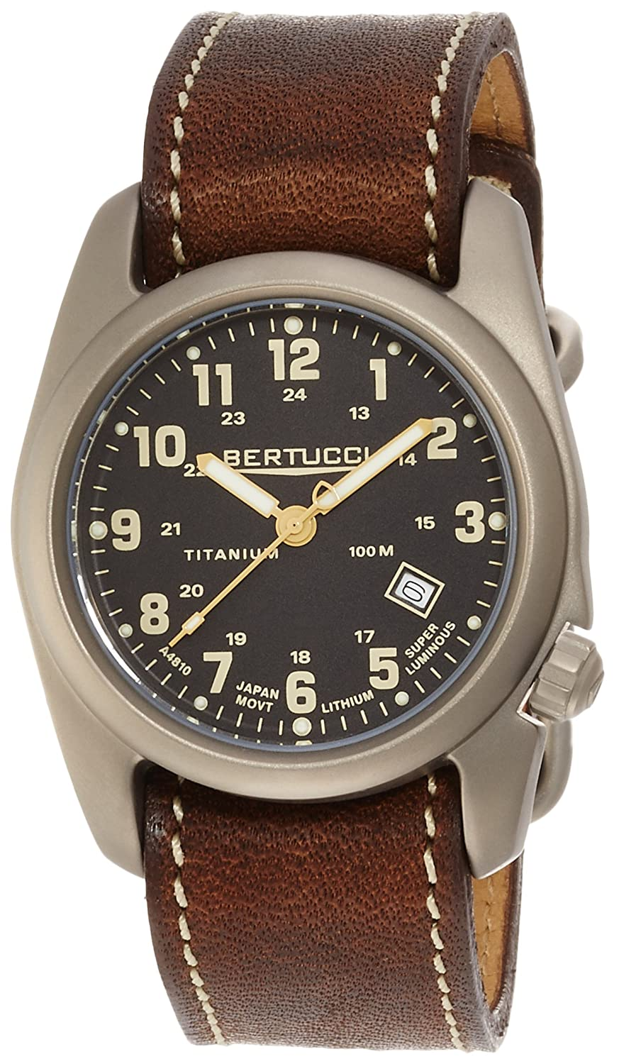 Bertucci A-2T Classic Field Watch Black Ti-Horween Brown Band 12712