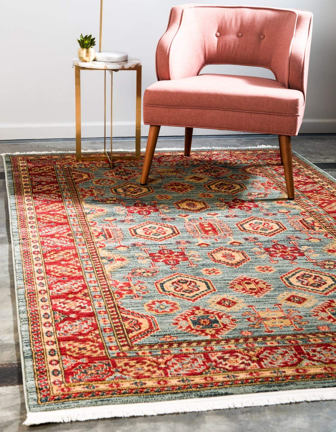 Unique Loom Sahand Collection Traditional Geometric Classic Light Blue Area Rug 5 0 x 8 0