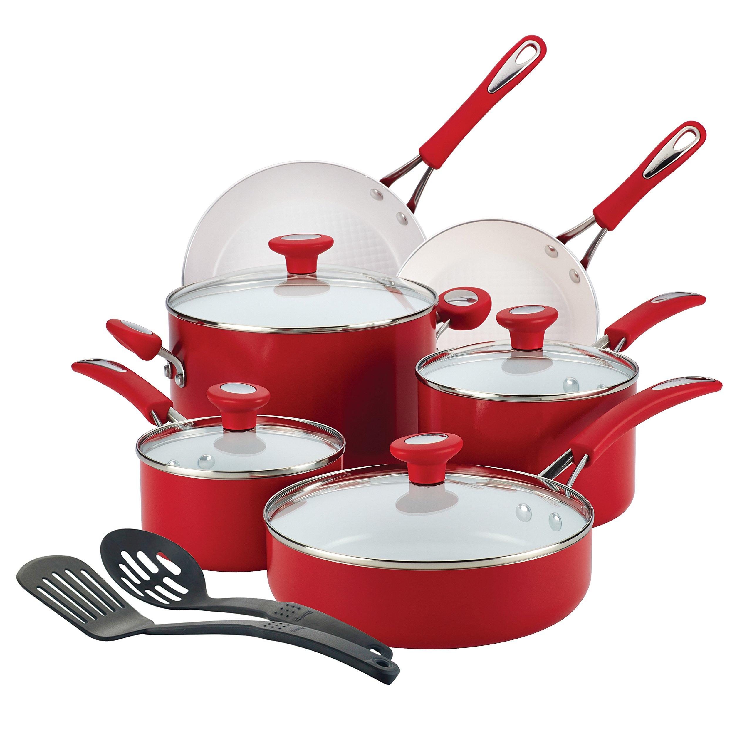 Aluminum Shatter Resistant 12-Piece Ceramic Nonstick Red Cookware Set