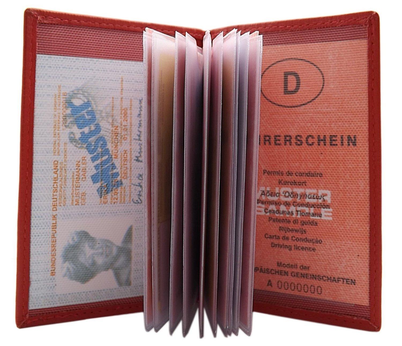 Echt Leder Ausweisetui mit 13 F/ächern in Kalb B/üffel Braun oder B/üffelleder MJ-Design-Germany in verschiedenen Farben