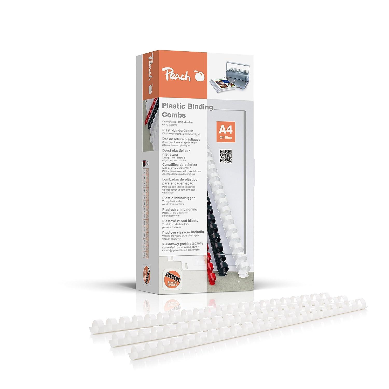 Peach PB412-01 Plastikbinderücken DIN A4, 12 mm, 95 Blatt, 100 Stück, weiß 100 Stück weiß 3T Supplies AG