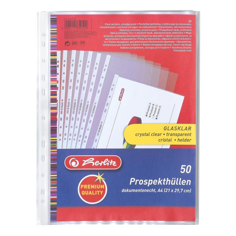 Herlitz - Cartelline trasparenti formato A4, con fori laterali, per raccoglitore, confezione da 50 pezzi Pelikan 5850508