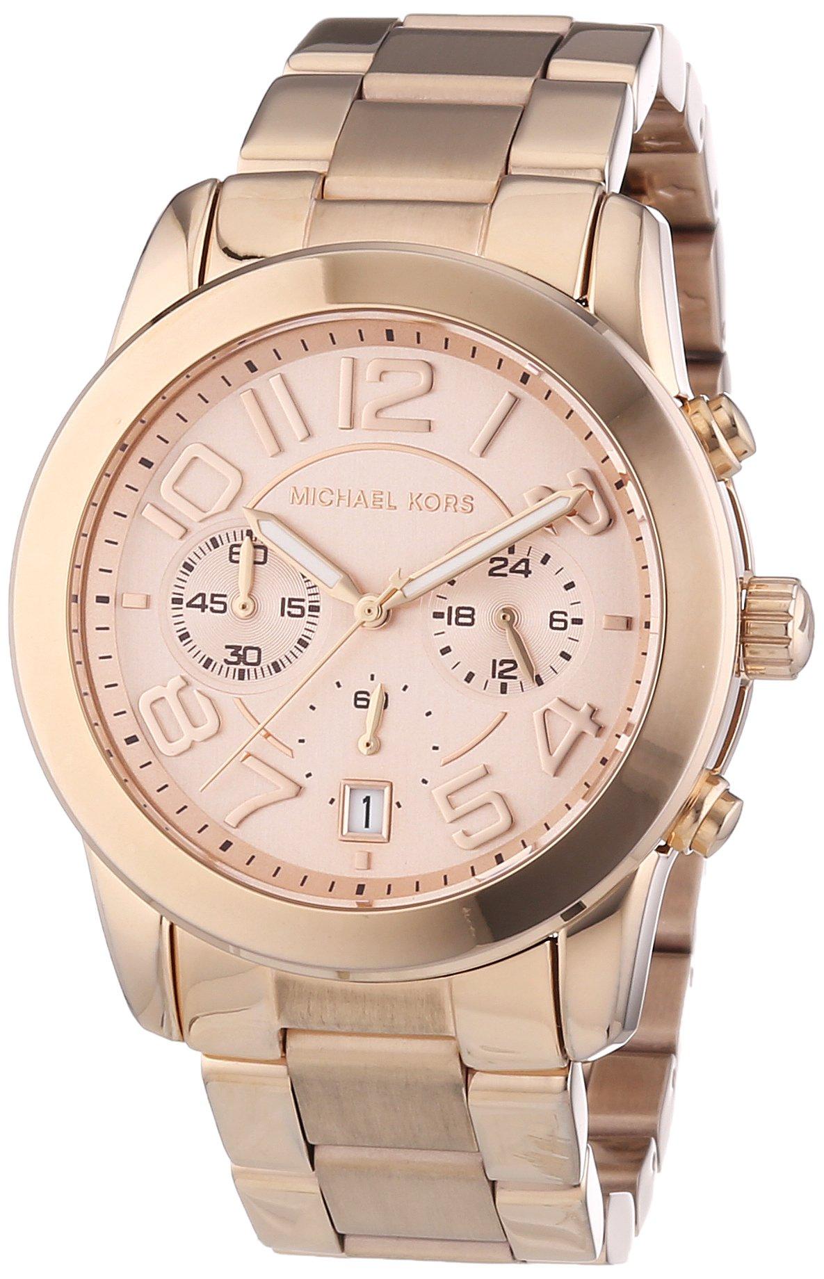 Michael Kors MK5727 Women's Mercer Rose Gold-Tone Stainless Steel Bracelet Chronograph Watch by Michael Kors