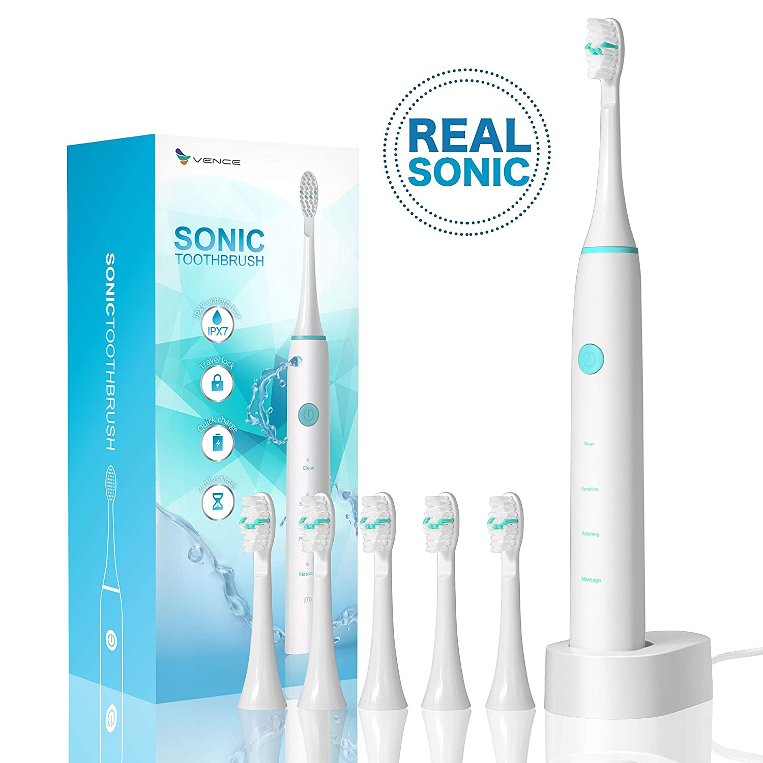 Vence Electric Power Wireless Rechargeable Sonic Toothbrush Ipx7 Waterproof Travel Lock Function With 6 Brush Heads White
